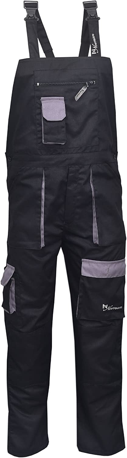 NORMAN Black Contrast Painters Work Wear Bib and Brace Overall Coverall Dungaress Heavy Duty