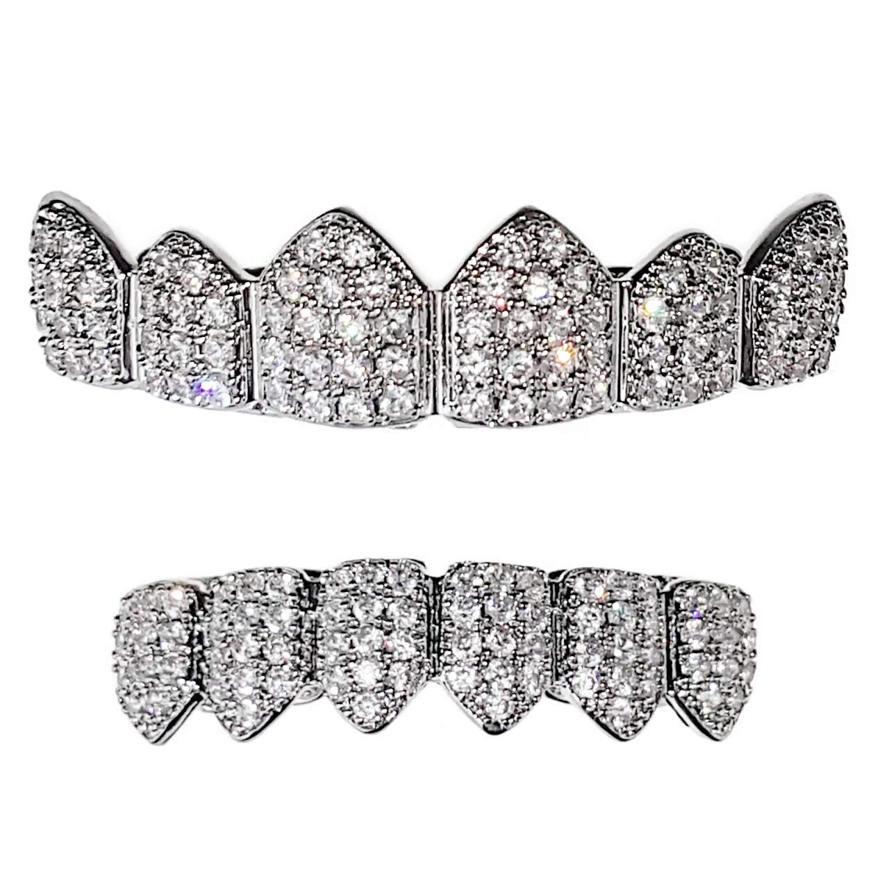 CZ Grillz Set Silver Tone Cubic Zirconia Micro Pave Bling Teeth Top & Bottom Row Iced Hip Hop Grills by Best Grillz