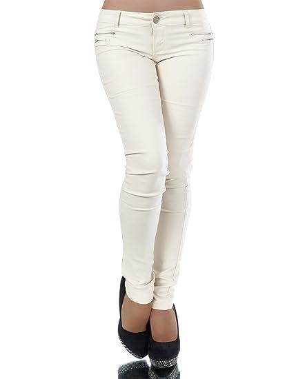 cd0d3667a01b9a L521 Damen Jeans Hose Hüfthose Damenjeans Hüftjeans Röhrenjeans  Leder-Optik  Amazon.de  Bekleidung
