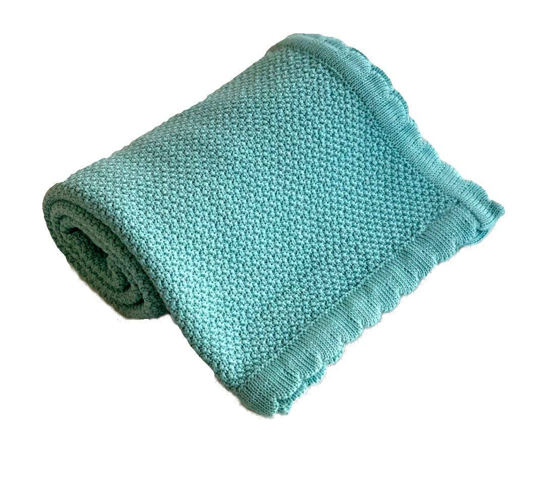 100/% Organische Baumwolle Ideal f/ür Kinderbetten Chelsea /& Harper Premium Babydecke Superweich Dicke Strickdecke Reisen Farbe: Blau