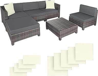 TecTake 403087 Conjunto Muebles de Jardín en Poly Ratán Aluminio + 2 Set de Fundas Intercambiables Gris: Amazon.es: Jardín