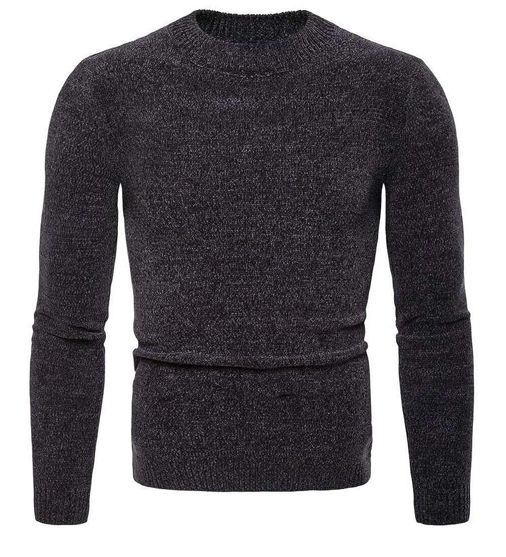 Joe Wenko Mens Pullover Slim Top Crewneck Long-Sleeve Knitted Basic Sweater