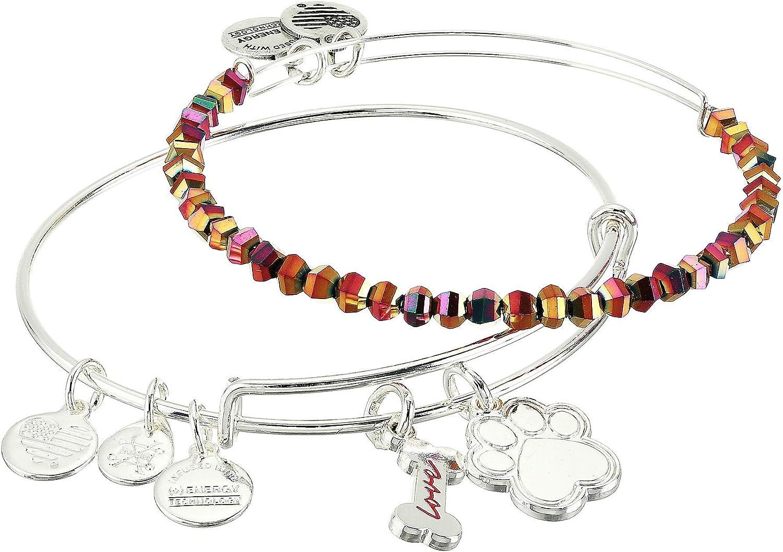 Alex and Ani Dog Bone and Paw Set of 2 Bangle Bracelet