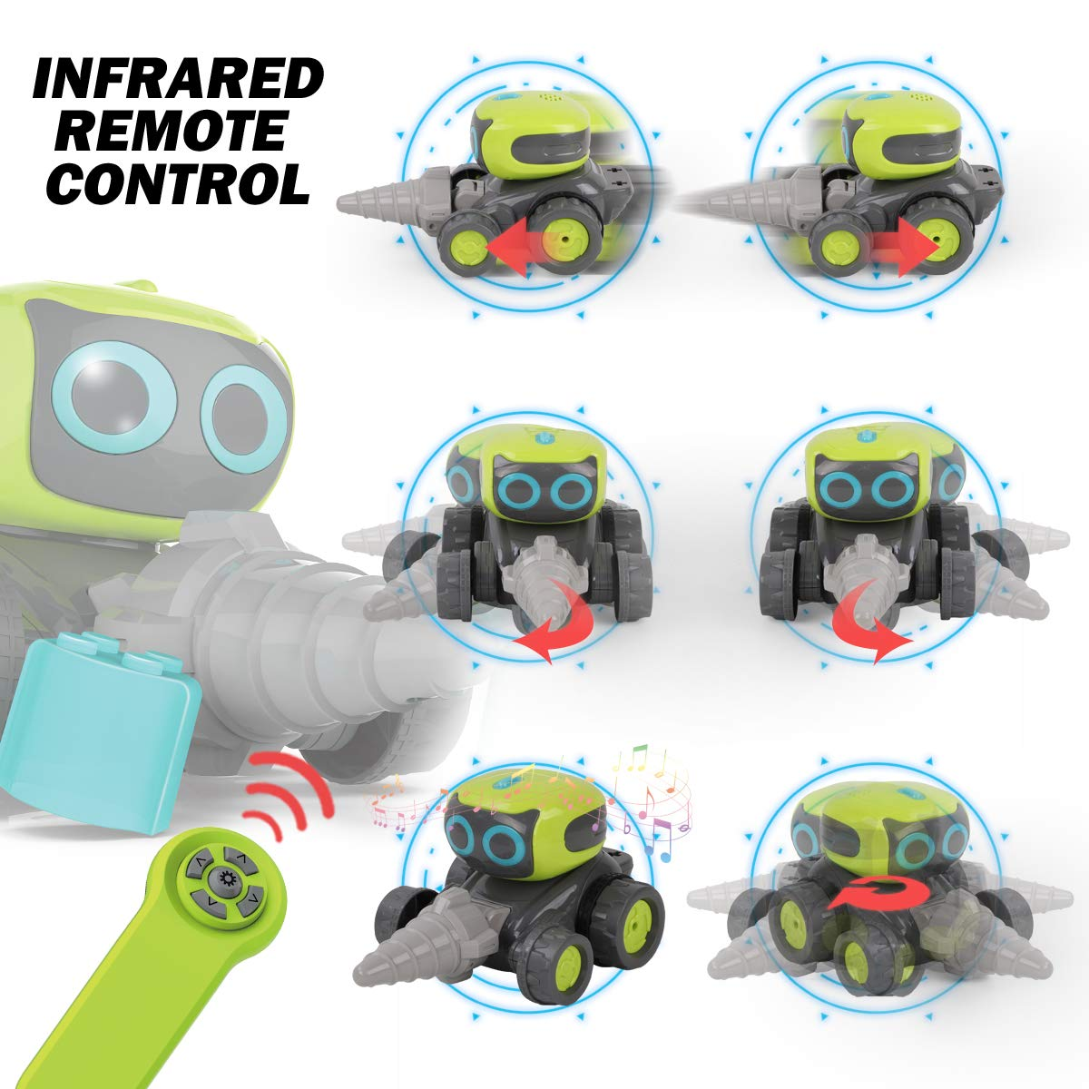 Remoking STEM RC Remote Control Engineering Robot Vehicle Toy, Smart Intelligent Electronic Educational Construction Car, Interactive Novelty Funny Gift of Building Block for Ages 3 and up by REMOKING (Image #3)