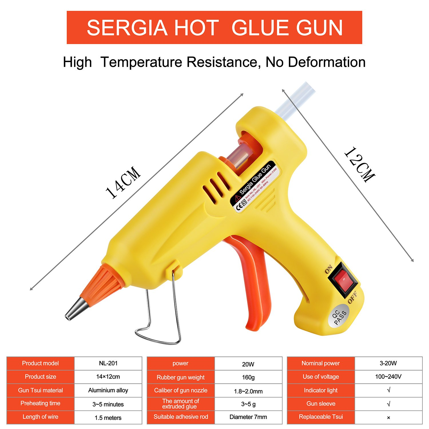 Hot Glue Gun Kit with 20 Pcs Glue Sticks, Mouse Pad, Anti-Hot Cover,Portable case for DIY Small Projects, Craft and Arts & Home Or School Quick Repair Sealing Use, Christmas Decoration/Gift (20 Watt) by SERGIA (Image #2)