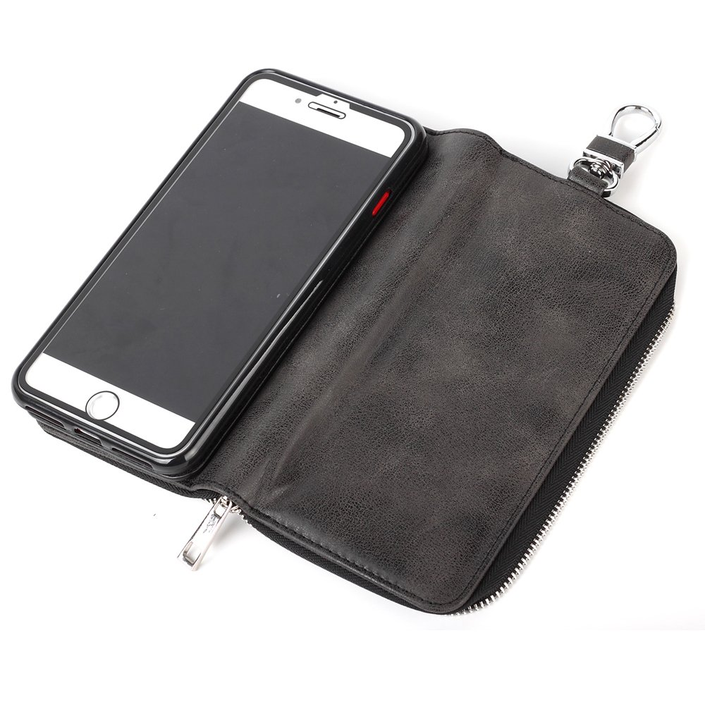 iPhone 8 Plus Case with Card Holder for Men,Credit Card Holder Slot Case Magnetic Phone Case Heavy Duty Shockproof Protective Cover with Zipper Wallet Key Case for iPhone 7 Plus/iPhone 8 Plus