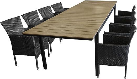 Multistore 2002. Sillas Asiento Grupo Mobiliario de jardín aluminio polywood – Mesa extensible Jardín Mesa 280/220 x 95 cm + 8 x apilables Sillón Polirratán – Juego de muebles de jardín: Amazon.es: Jardín