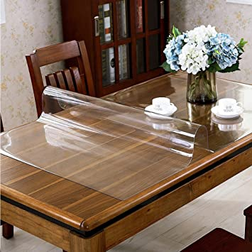 Amazon UK & Rectangle Clear Plastic Tablecloth PVC Waterproof Kitchen Dining Glass Table Cloths Cover Protector Transparent Crystal Vinyl Table Cloth by Yunhigh