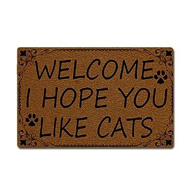 Eprocase Doormat Rubber Backing Door Mat Outdoor/Indoor Non-Slip Entrance Door Mat Home Decor Mat Floor Mats Gate Pad, 23.6 x 15.7 Inches, Welcome I Hope You Like Cats