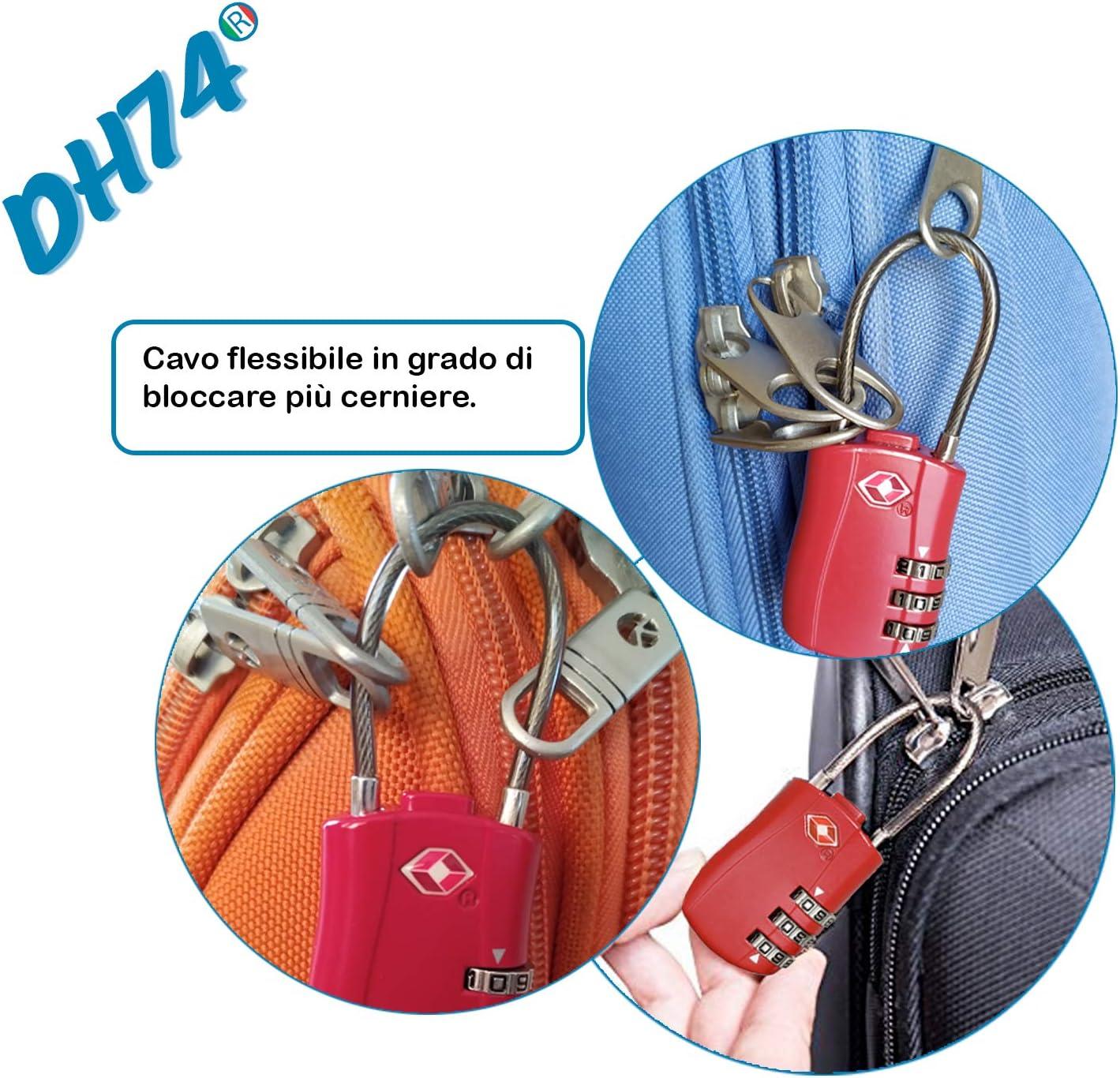 DH74 – 2 candados de combinación Tsa para uso, viaje, maleta, mochila, armario, gimnasio, arco largo flexible, bicicleta, 3 números, segunda ...