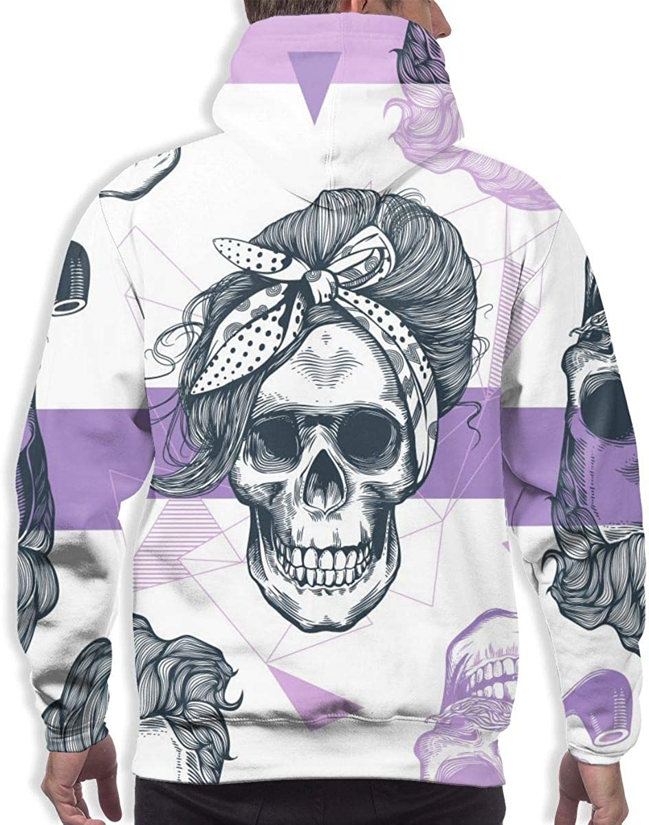Skeleton Womens Heads Mens Vintage Lightweight Hoodies Pullover Hooded Top Winter Jacket
