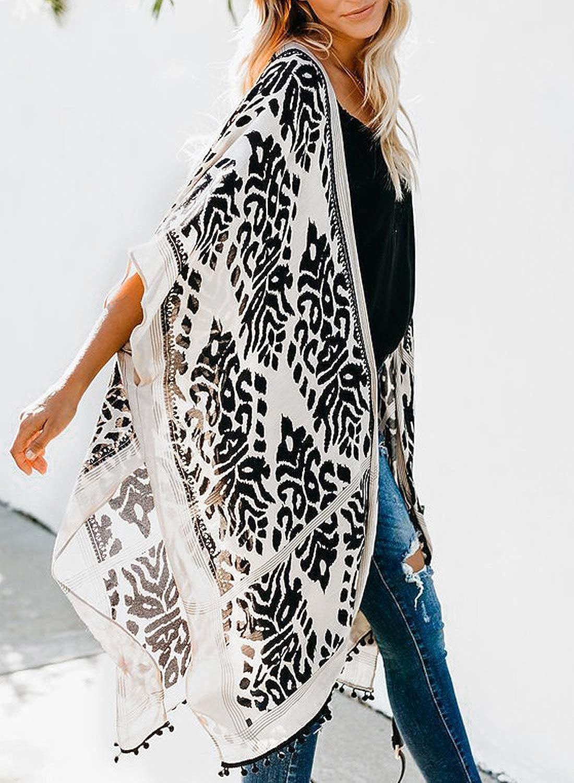LOSRLY dise/ño retro Kimono con pompones para mujer