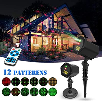 Christmas Laser Lights Halloween Starry Lights Red and Green Outdoor Garden Christmas Holiday Party Decoration Waterproof 5M Cable with RF Remote: Home Improvement