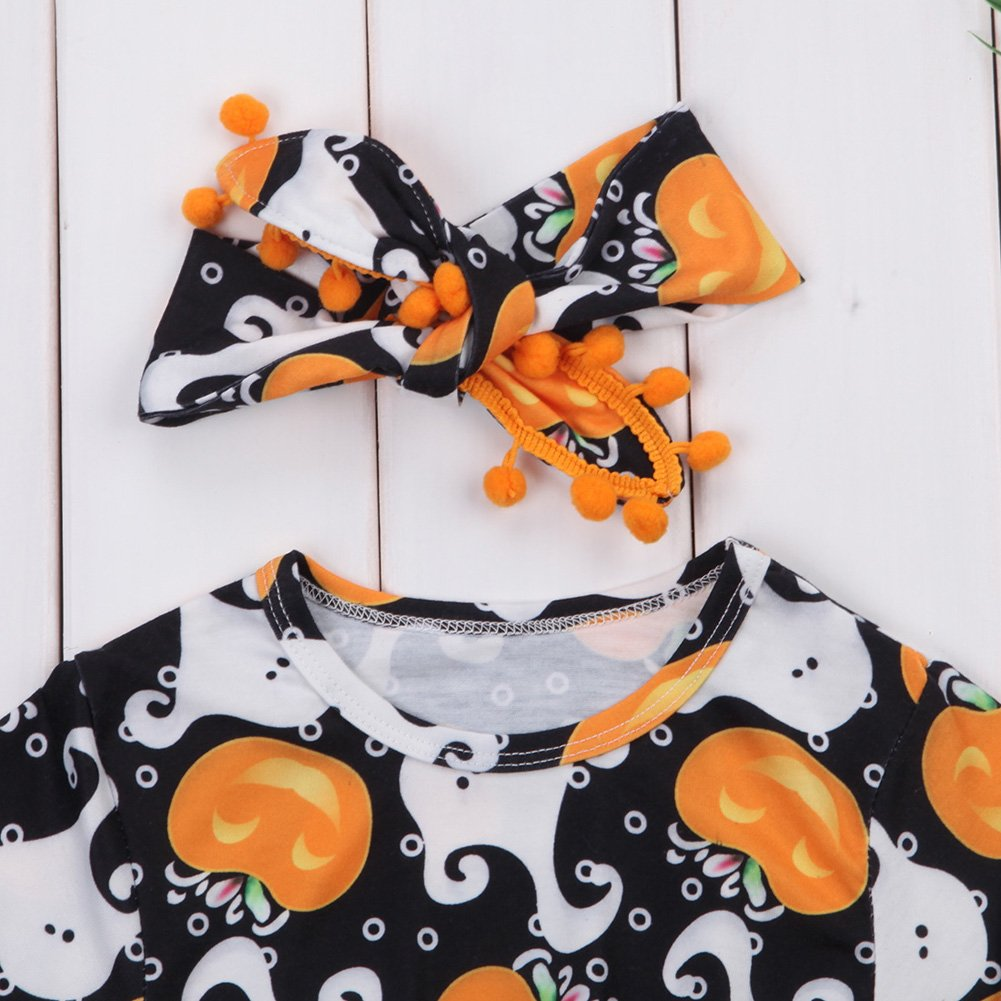 2Pcs//Set Cute Infant Newborn Baby Girl Long Sleeve Pumpkin Bodysuit Pompom Romper with Headband Outfit Clothes