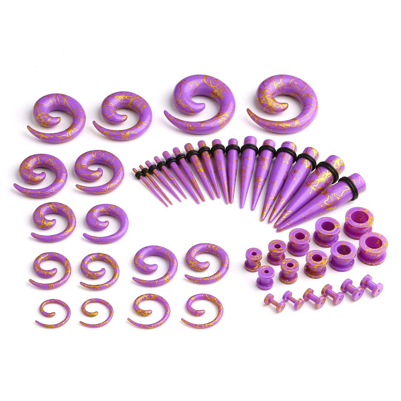 PiercingJ 48pcs Set UV Acrylic Gauge Spiral Snail + Straight Tapers + Tunnels Plug Ear Flesh Taper Stretching Kit 14G-3/4 Ear Gauges Piercing Jewelry by PiercingJ