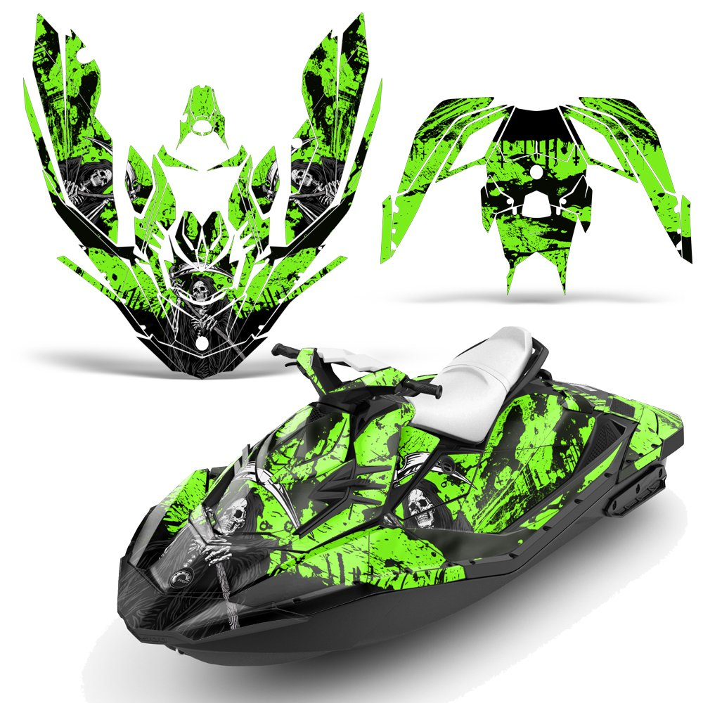 Bombardier SeaDoo Spark 2Up Rotax 900 2015+ Decal Graphic Kit Wrap Jetski Sea Doo 2 Up REAPER GREEN by Wholesale Decals (Image #1)