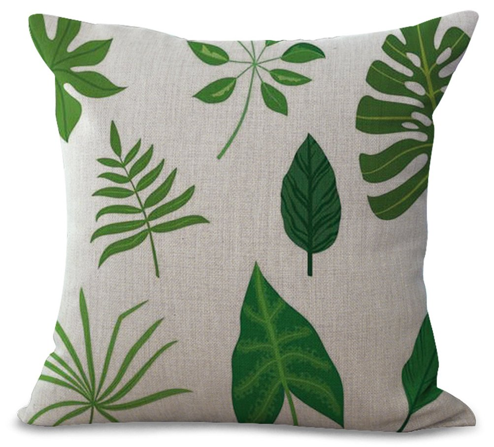 YJBear Green Leaf Print Home Decor for Bench Couch Sofa Decorative Cushion Throw Cotton Linen Square Pillow with Invisible Zipper 18 X 18
