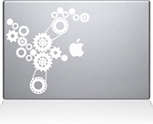 "The Decal Guru Steampunk Gears MacBook Decal Vinyl Sticker - 15"" MacBook Pro (2015 & Older) - White (1184-MAC-15P-W)"