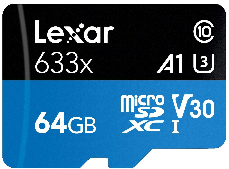 TALLA 64 GB. Lexar 633x - Tarjeta Micro SD de 95 MB/s y 128 g, Clase 10, 32 g, 64 GB, Adaptador de Tarjeta Micro SDXC de Memoria SD UHS-1 para cámara Drone GoPro Sport 64 GB