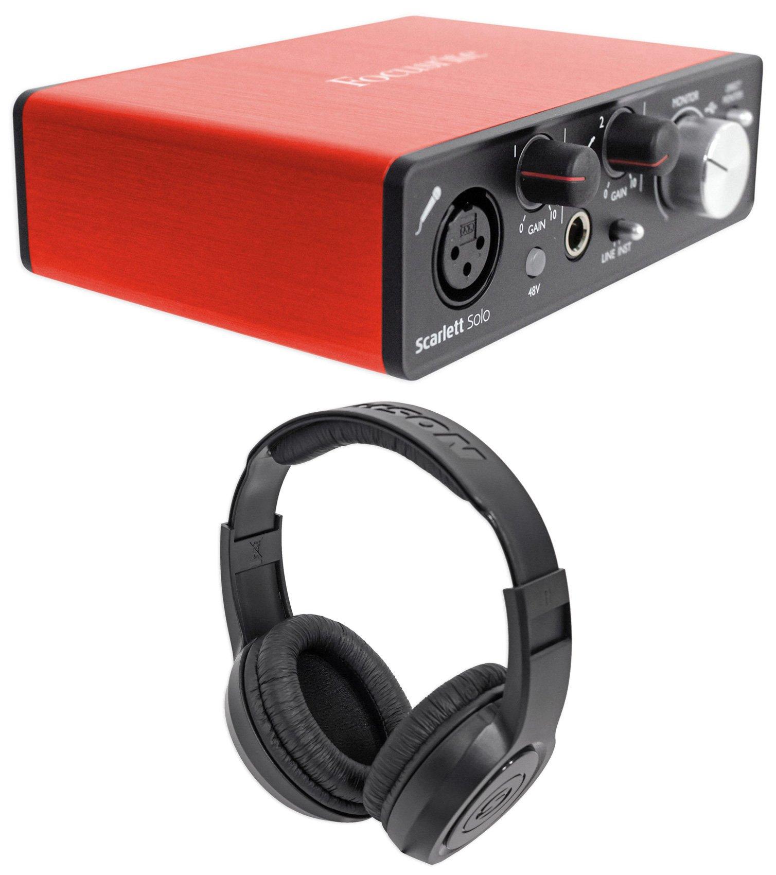 Focusrite SCARLETT SOLO 2nd Gen 192 KHz USB 2.0 Audio Interface+Samson Headphones by Focusrite