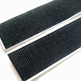 """Strenco 1"""" Self Adhesive Black Hook and Loop 5 yards Sticky Back Tape Fabric Fastener 15 feet"""