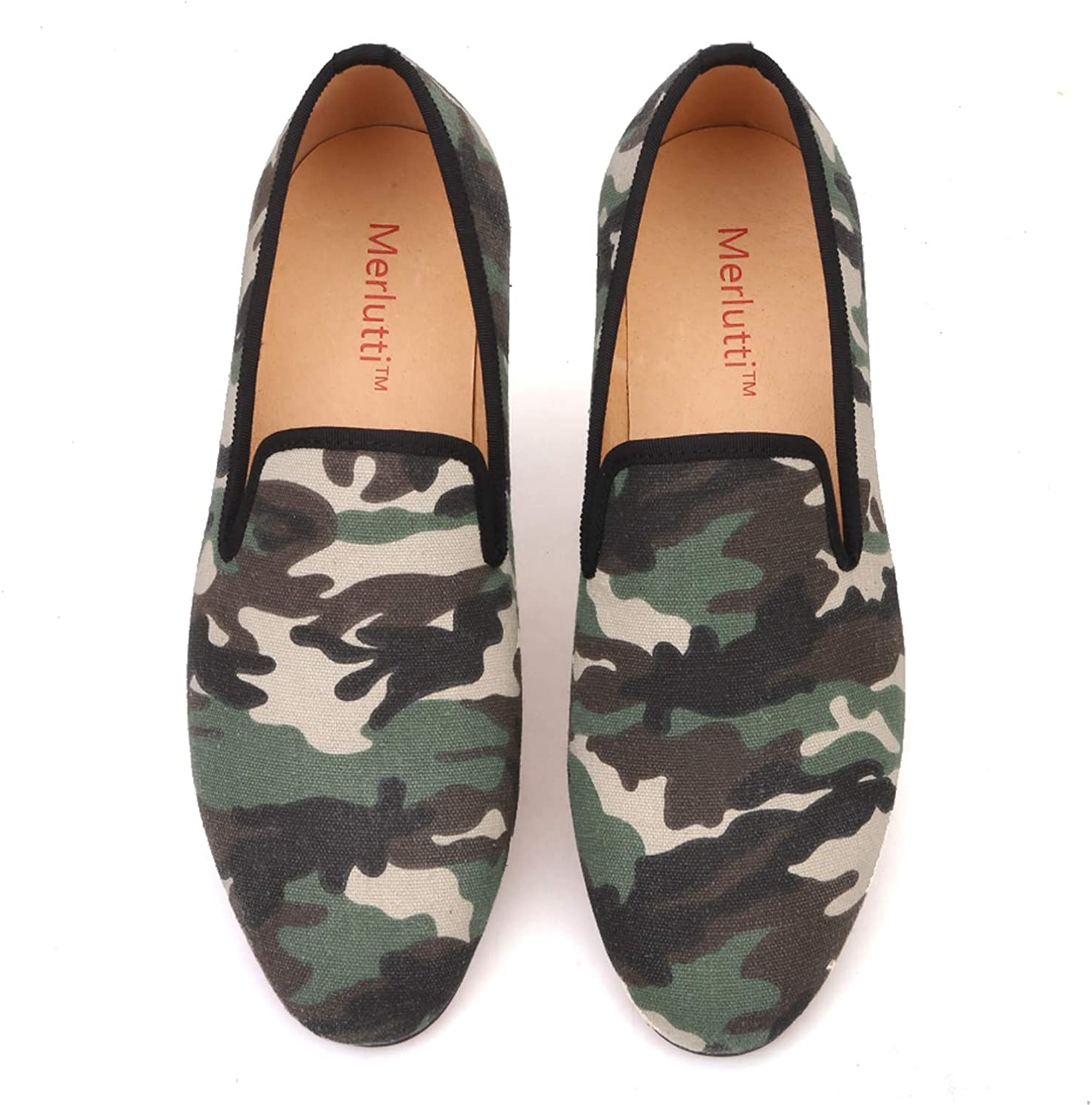 Merlutti Camouflage Casual Loafers Men Green Camo Street Style Shoes
