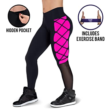 784903a209 Amazon.com  Glam You Non See Through High Waist Shapewear Leggings w  Hidden  Pocket. Running Fitness Yoga Pants. Includes Workout Band!  Clothing