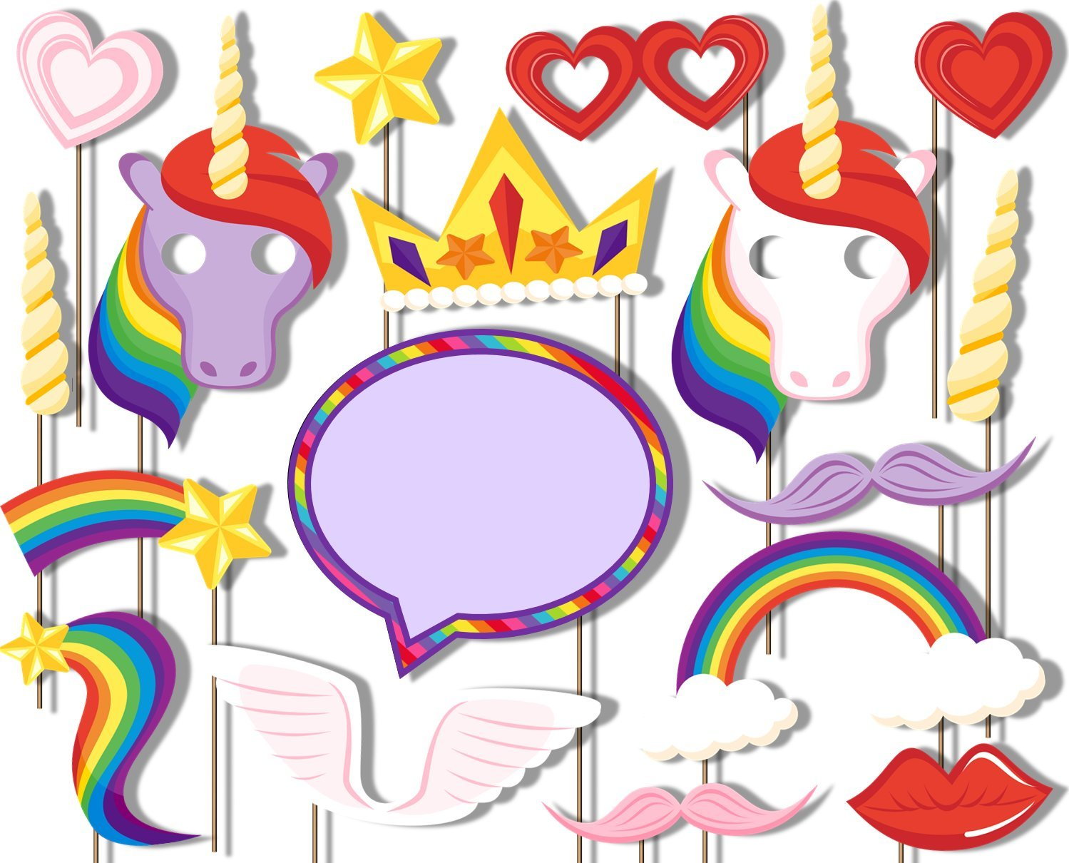 Rainbow Unicorn Pegasus Photo Booth Props Kit - 20 Pack Party Camera Props Fully Assembled