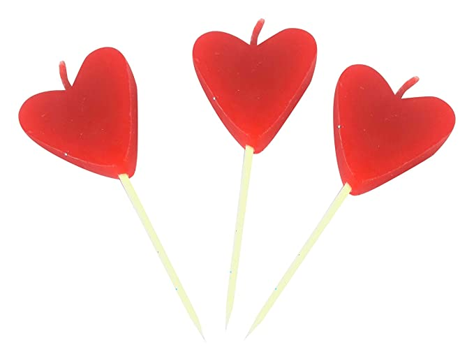 Blizy Colors Paraffin Wax Heart Birthday Candles (3 cm x 3 cm x 3 cm, Red, 6 Heart Candles - 2 Sets)