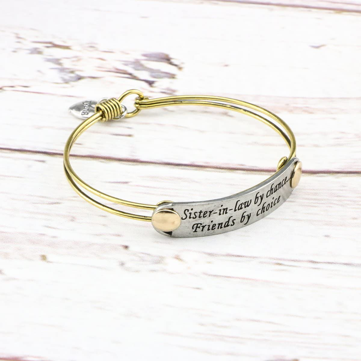 UNQJRY Sister Bracelets for Friends Inspiration Vintage Bangle Brass Copper Friendship Jewelry Gift