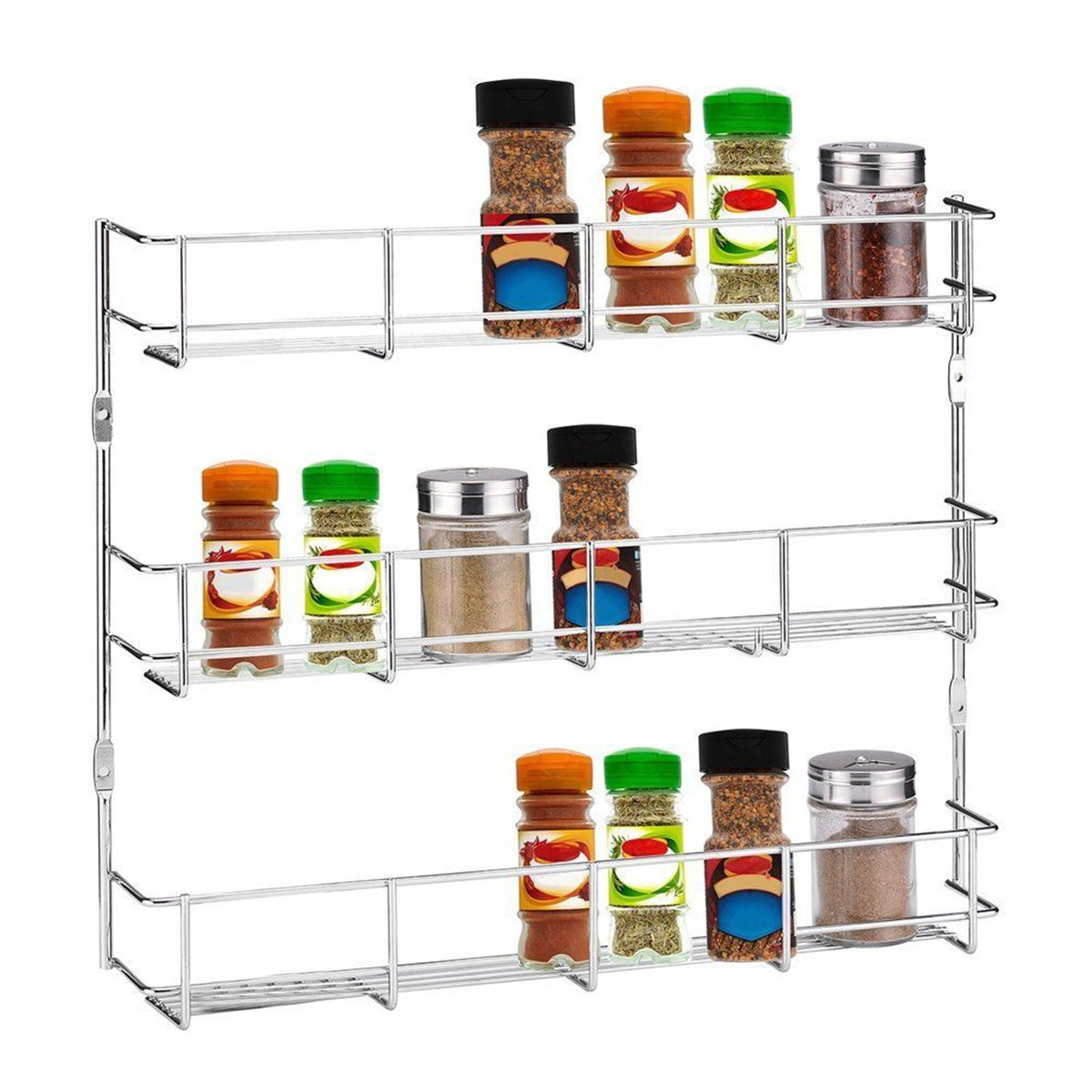 Vivona Hardware & Accessories 3 Tiers Kitchen Spice Rack Cabinet Wall Mount Storage Shelf Pantry Holder Kitchen Storage Rack