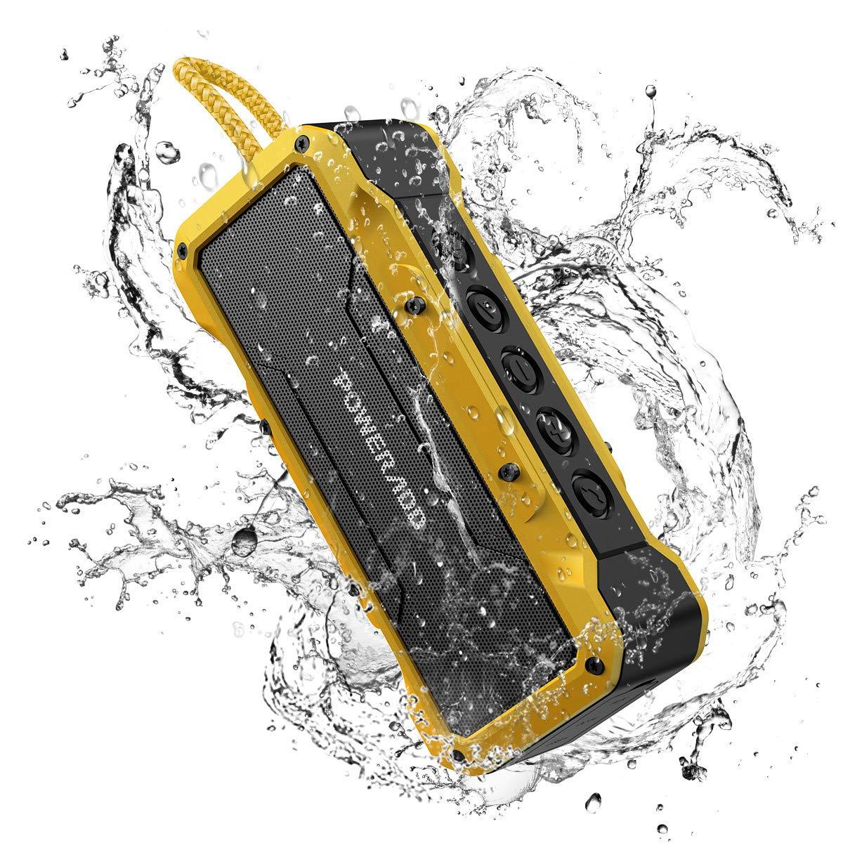 POWERADD Altavoz Sonido Potente de 36W, Altavoz Bluetooth Portátil de Impermeable IPX7,Antigolpes,Resisdente a Arena,con Aux Cable, Amarillo-Negro
