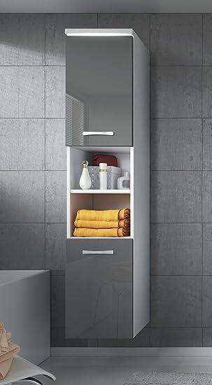 Beautiful badezimmer schrank paso cm hochglanz grau fronten u regal schrank hochschrank schrank mbel with hochglanz grau