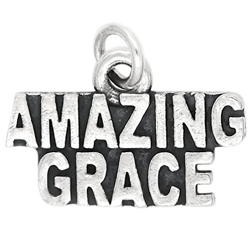 7a5e7946408ea2 Image Unavailable. Image not available for. Color: Sterling Silver Oxidized Amazing  Grace Charm Pendant