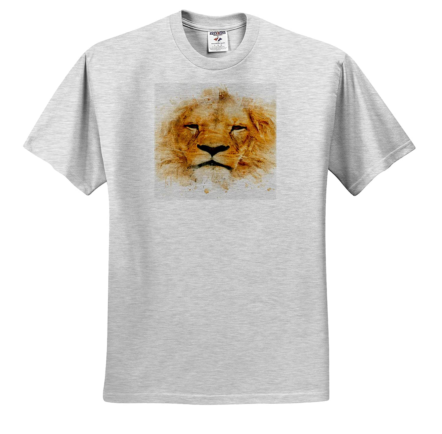 Impressionist Mixed Media Art ts/_318684 3dRose Anne Marie Baugh Image of Watercolor Lion Face Art Adult T-Shirt XL