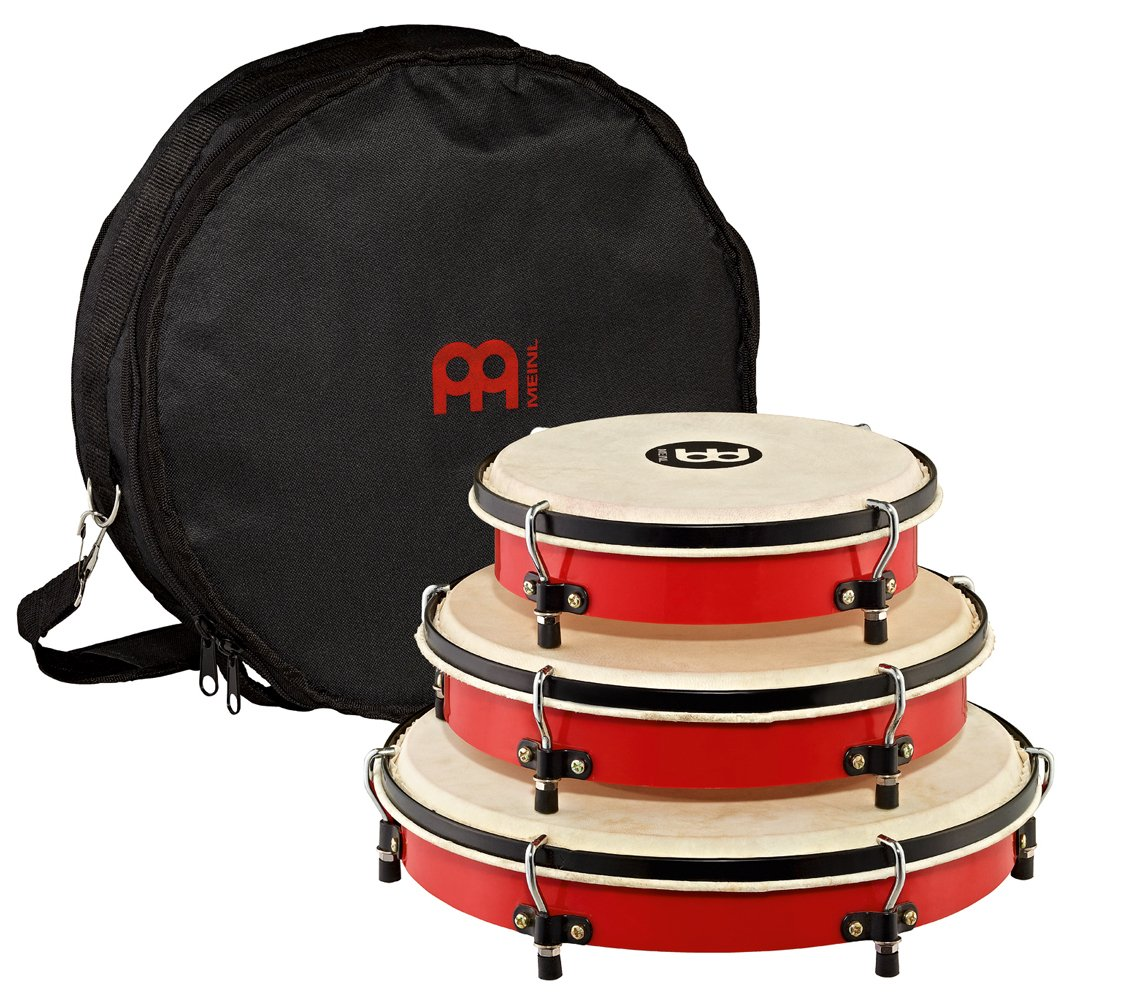 Meinl Percussion PL-SET Traditional Frame Drum Set with Bag: 8, 10, and 12-Inch, Red by Meinl Percussion