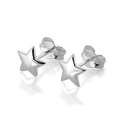 f140b3ec2 Sterling Silver Star Stud Earrings: All Seasons: Amazon.co.uk: Jewellery