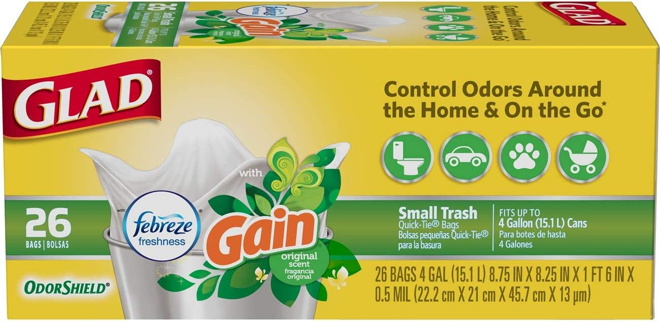 Glad Small Trash Bags - OdorShield 4 Gallon White Trash Bag, Gain Original with Febreze Freshness - 26 Count Each (Pack of 6)