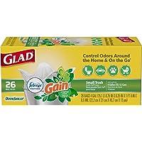 Glad Small Trash Bags - OdorShield 4 Gallon White Trash Bag, Gain Original with Febreze Freshness - 26 Count Each (Pack of 6)