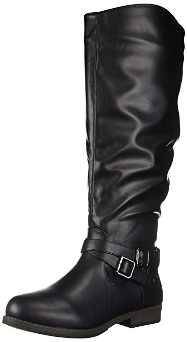 1a57083213f2 Brinley Co. Womens Regular and Wide-Calf Buckle Knee-High Ankle-Strap
