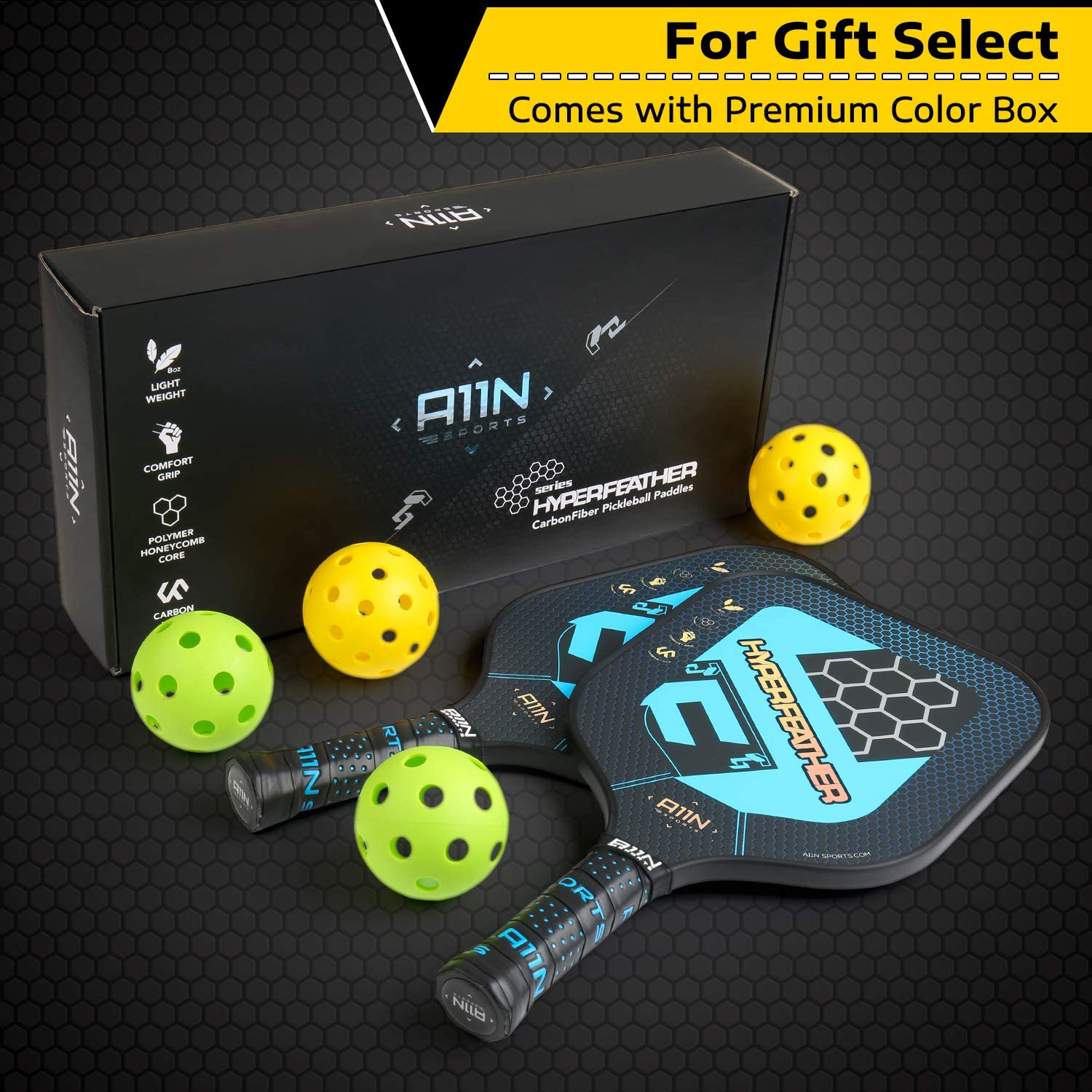 A11N Premium Pickleball Paddle Set or Single, 8 oz USAPA Approved Pickleball Racquets - Graphite Face & Polymer Core| Ultra Cushion Grip, Set Includes ...