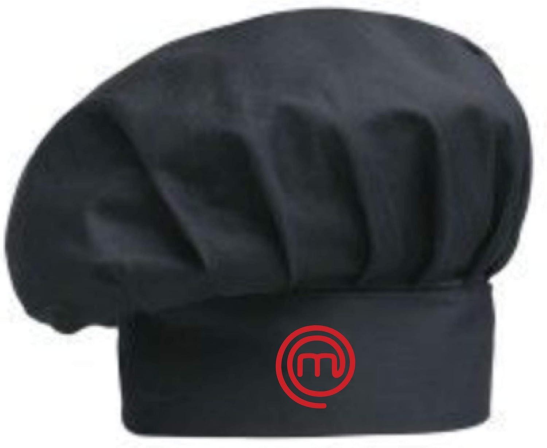Negro Disponible Blanco y Negro Gorro de Cocina Bordado Masterchef con Cinta Ajustable
