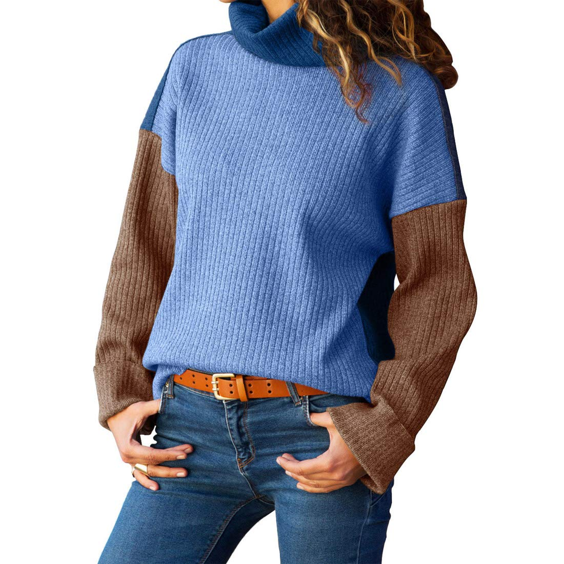 Ytwysj Women Blue Brown Color Patchwork Ribbed High Neck Sweater Knit Jumper Top Autumn Winter Outfit