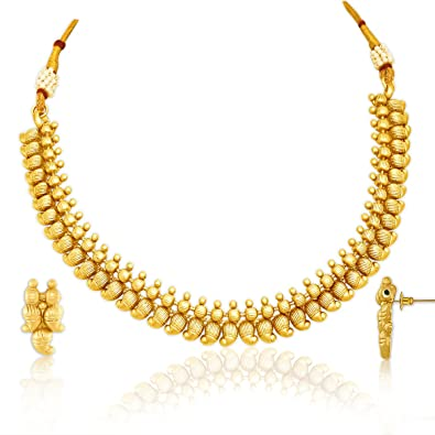 aed3b91b2ed84 Buy Spargz New Designer Gold Plated Brass Metal Choker Necklace Set ...