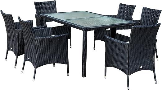 Ensemble Salon de Jardin 6 fauteuils avec Coussins Assise + Table résine  tressée 4 Fils Imitation rotin Noir