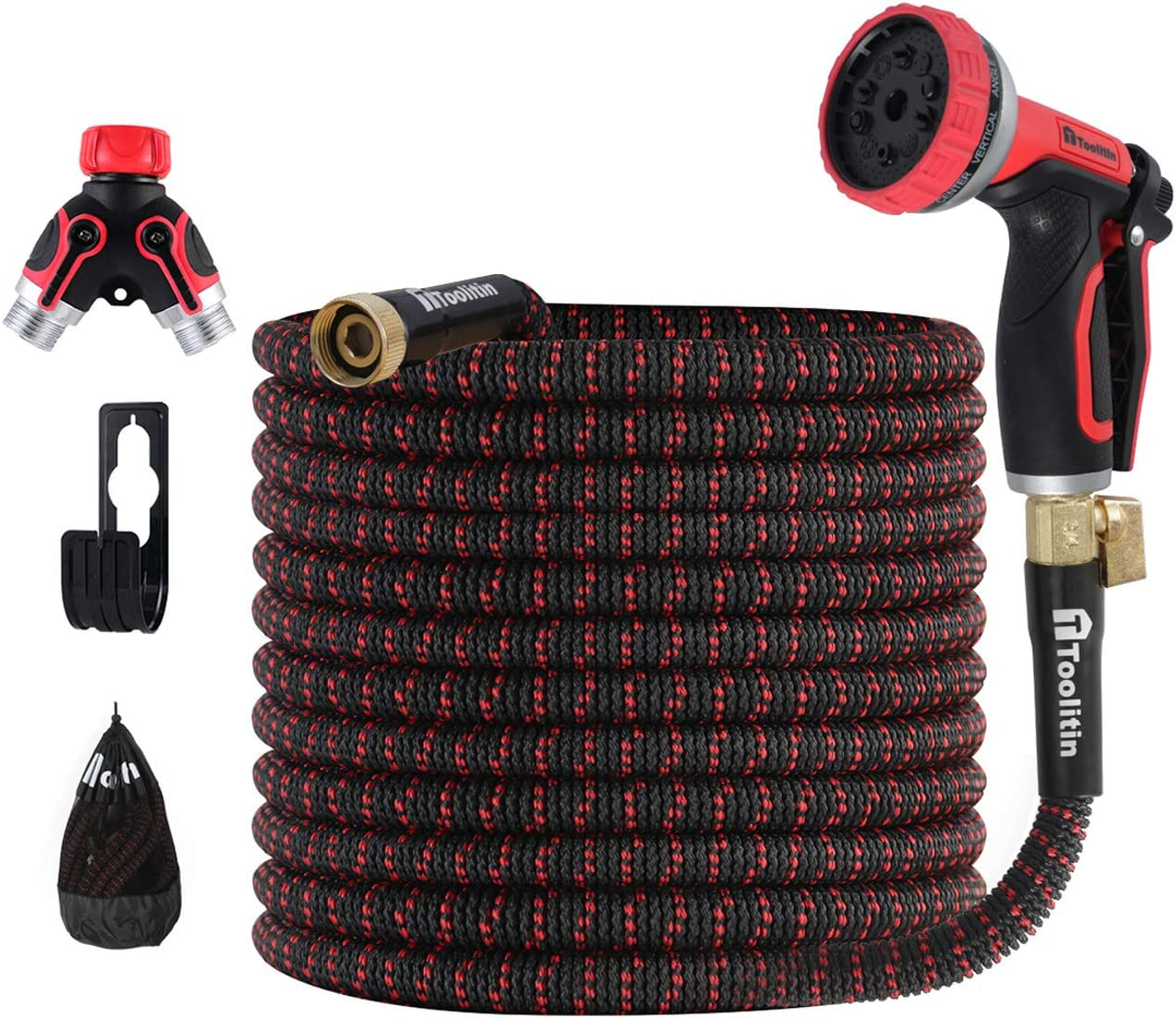 TOOLITIN 100 FT Garden Hose with Splitter & 10 Function High Pressure Nozzle, Lightweight Expandable Water Hose, Extra Strength with 3/4 Inch Aluminium Fittings & Double Latex Core-Leak Resistan