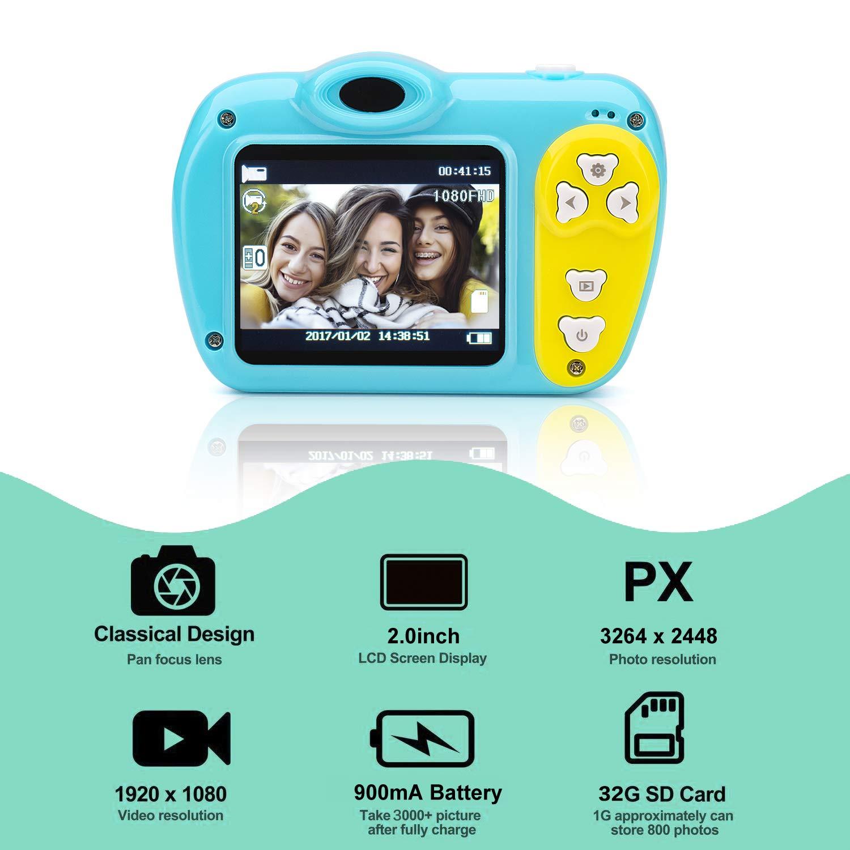SIKVIO Mini 2.0 Inch Screen Kids Childrens Digital Camera,1080P HD Mini Digital Video Recorder Camcorder Camera with Loop Recording 16GB Cards for Boys Girls by SIKVIO (Image #2)