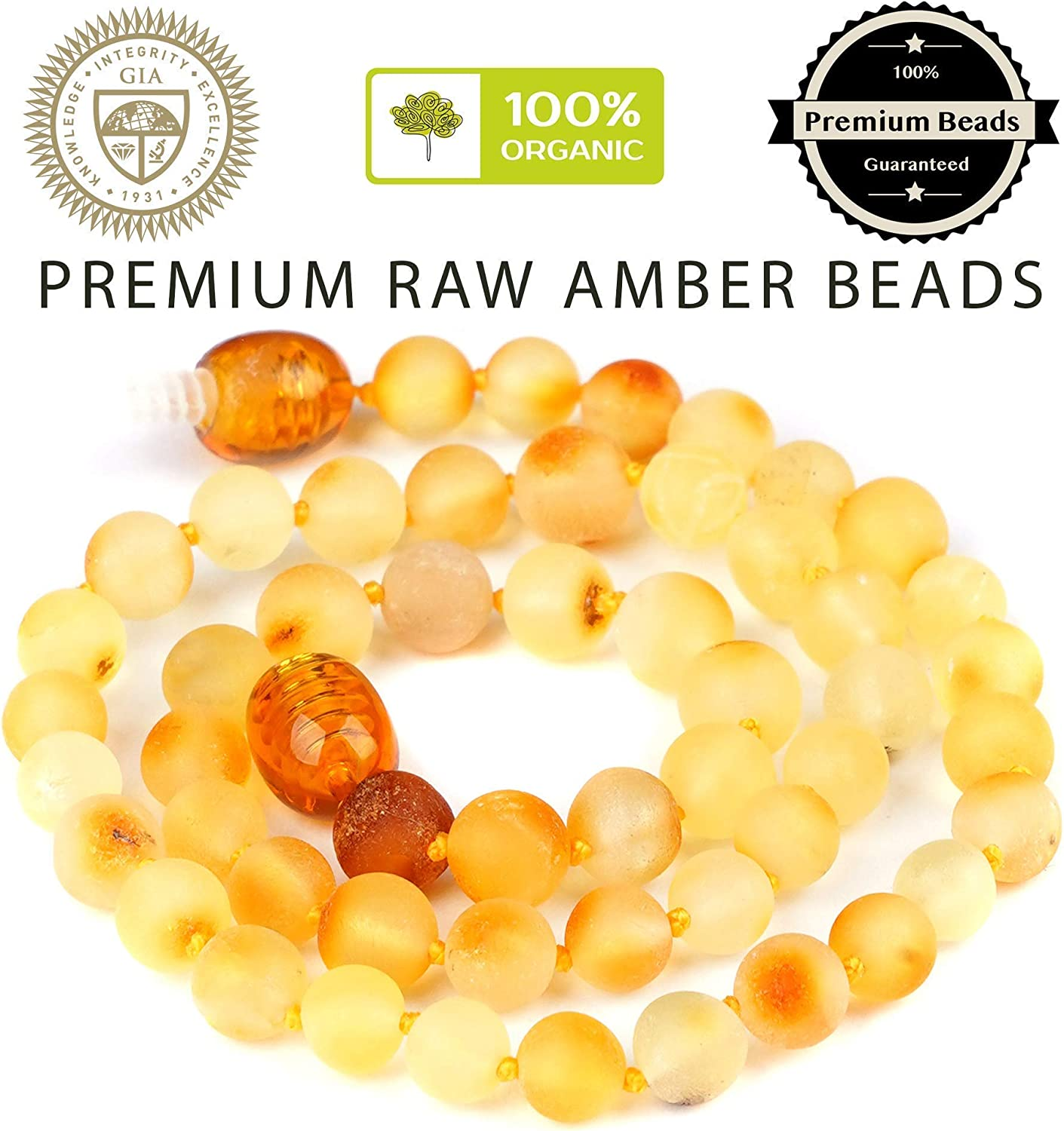 Multi Color Pain Relief /& Drooling Reduce Properties Immune Boost Amber Guru Baltic Amber Necklace Anti Inflammatory Unisex Organic Jewelry with Polished Beads 12.5 Inches