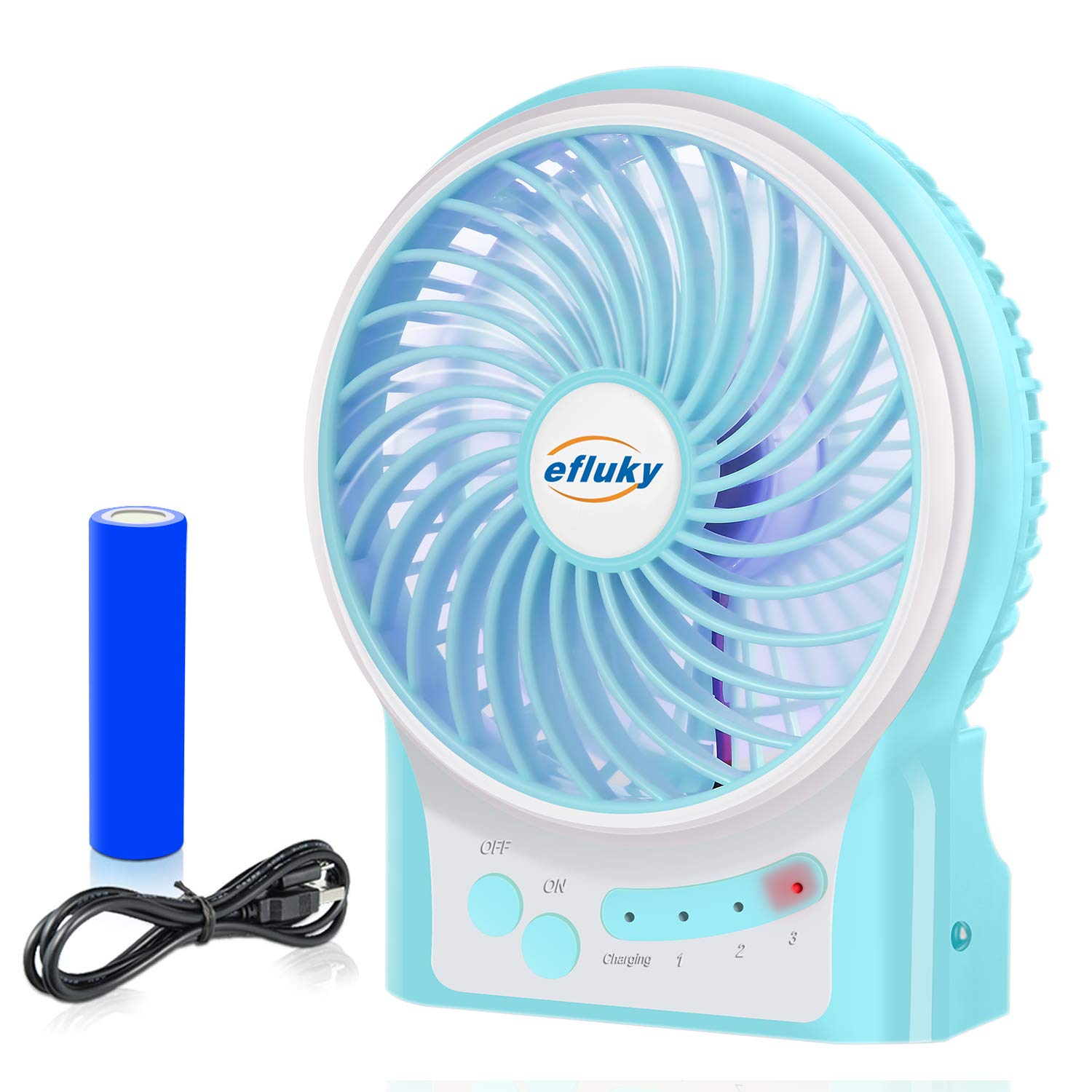 efluky 3 Speeds Mini Desk Fan, Rechargeable Battery Operated Fan with LED Light and 2200mAh Battery, Portable USB Fan Quiet for Home, Office, Travel, Camping, Outdoor, Indoor Fan, 4.9-Inch,Blue