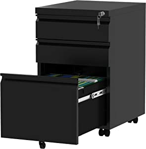 YITAHOME 3-Drawer Rolling Filing Cabinet Office Drawers, Lockable Office Storage Cabinet with Hanging Bars and Pencil Tray, Pre-Assembled Metal File Cabinet Under Desk (Black)